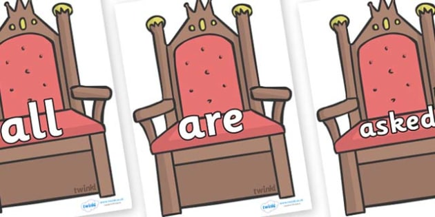 Tricky Words on Thrones (Plain) - Tricky words, DfES Letters and Sounds, Letters and sounds, display, words