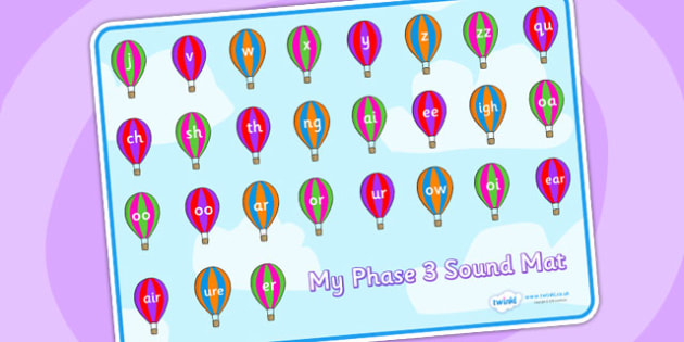 Phase 3 Sound Mat on Hot Air Balloons - Sound Mat, Letters and Sounds, Phase 3, Phase three, Foundation, Literacy, Mnemonic Images