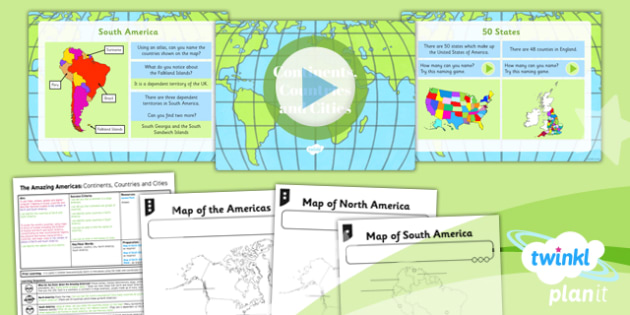 PlanIt - Geography Year 6 - The Amazing Americas Lesson 1: Continents, Countries and Cities Lesson Pack - planit, geography, North America, physical, continent, country, city