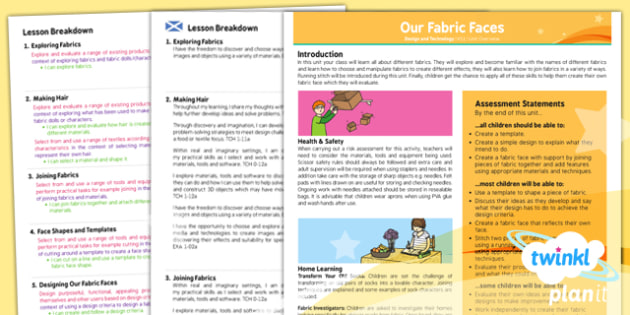 PlanIt - Design and Technology KS1 - Our Fabric Faces Planning Overview CfE - planit, planning, overview, cfe