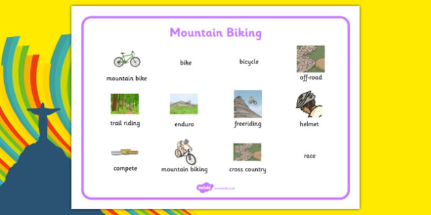 Rio 2016 Olympics Mountain Biking Word Mat - rio 2016, rio olympics, 2016 olympics, mountain biking, word mat