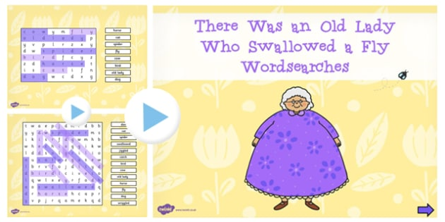 There Was an Old Lady Who Swallowed a Fly Interactive Wordsearch
