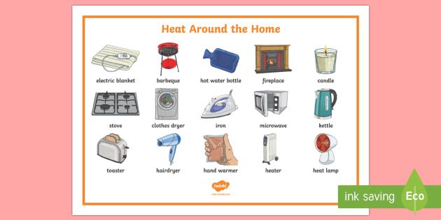 Heat Around The Home Word Mat - heat, heat around the home, heat transfer, heating, heating items, heat sources,Australia