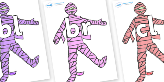 Initial Letter Blends on Mummies (Multicolour) - Initial Letters, initial letter, letter blend, letter blends, consonant, consonants, digraph, trigraph, literacy, alphabet, letters, foundation stage literacy