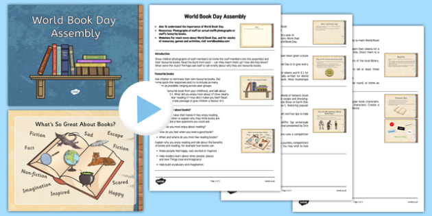 World Book Day Assembly PowerPoint and Script - world book day, assembly