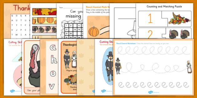 Thanksgiving Kindergarten Teaching Pack - thanksgiving, pack, worksheet for kindergarden