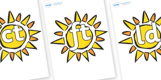 Final Letter Blends on The Sun - Final Letters, final letter, letter blend, letter blends, consonant, consonants, digraph, trigraph, literacy, alphabet, letters, foundation stage literacy
