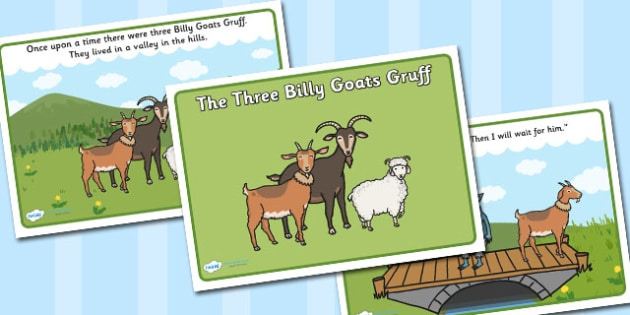 The Three Billy Goats Gruff Story - Three Billy Goats Gruff, traditional tales, tale, fairy tale, goat, billy goat, troll, sweet grass, bridge