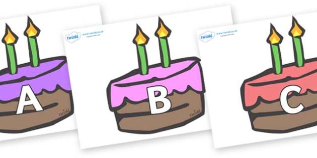 A-Z Alphabet on Cakes - A-Z, A4, display, Alphabet frieze, Display letters, Letter posters, A-Z letters, Alphabet flashcards