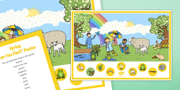 Spring Can You Find? Poster And Prompt Card Pack - Spring, blossom, frogspawn, tadpoles, frogs, daffodils, rainbow, lambs, chicks, bunnies