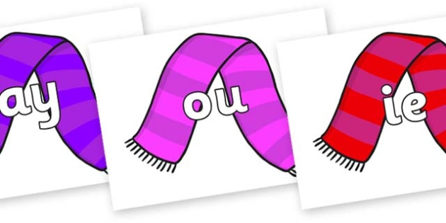 Phase 5 Phonemes on Scarves - Phonemes, phoneme, Phase 5, Phase five, Foundation, Literacy, Letters and Sounds, DfES, display