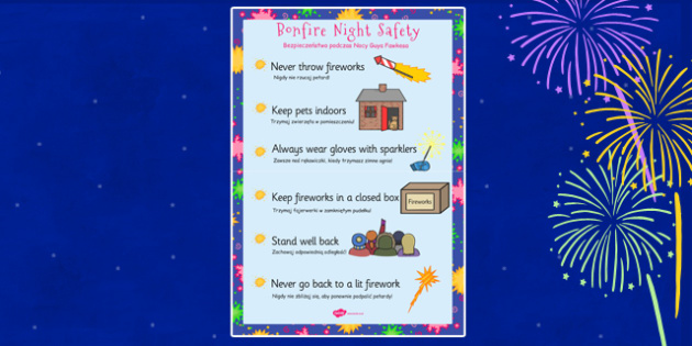 Bonfire Night Safety Posters Polish Translation - arabic, bonfire night, safety, posters