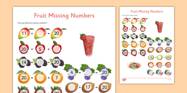 Missing Number Addition to 20 Activity Sheet - missing numbers, 20, addition, activity sheet, activity, sheet, numbers, worksheet