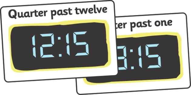 Digital Clocks - Quarter Past (24 Hour) - Time resource, digital clock, Time vocaulary, clock face, O clock, half past, quarter past, quarter to, shapes spaces measures