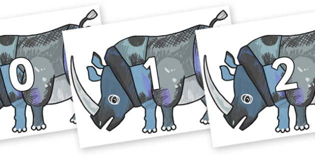 Numbers 0-50 on Rhinoceros to Support Teaching on The Bad Tempered Ladybird - 0-50, foundation stage numeracy, Number recognition, Number flashcards, counting, number frieze, Display numbers, number posters