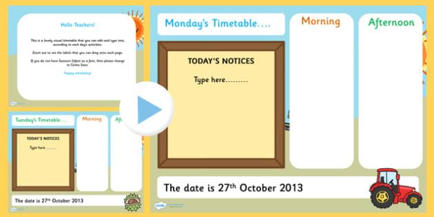 KS1 Visual Timetable Interactive PowerPoint Autumn - KS!, timetable, interactive, powerpoint, autumn, autumn powerpoint, interactive powerpoint, visual