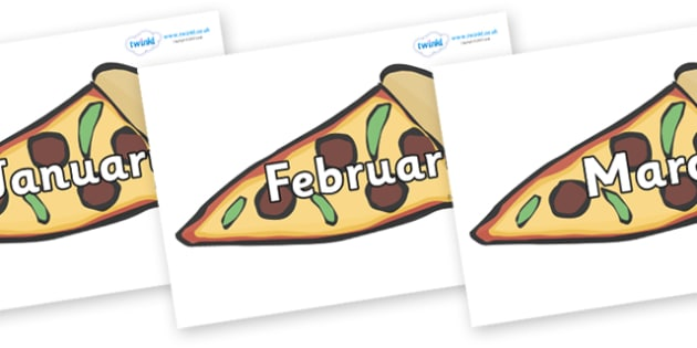 Months of the Year on Pizza - Months of the Year, Months poster, Months display, display, poster, frieze, Months, month, January, February, March, April, May, June, July, August, September