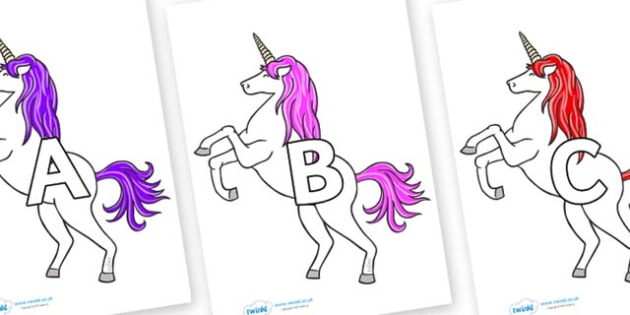 A-Z Alphabet on Unicorn - A-Z, A4, display, Alphabet frieze, Display letters, Letter posters, A-Z letters, Alphabet flashcards