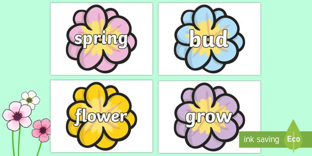 Spring Words On Flowers - spring, flowers, word cards, flashcards, cards, words, blossom, seasons, sun, new, bud, season, daffodil, shoot