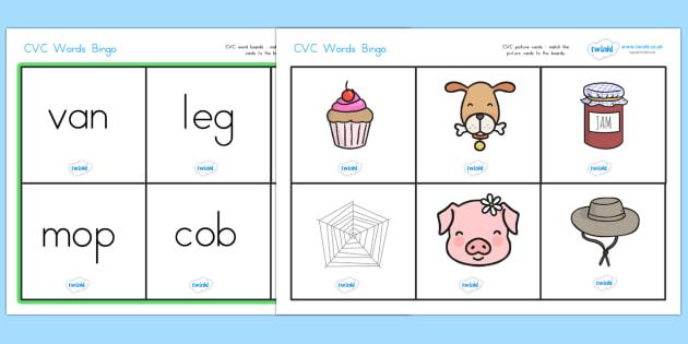 CVC Word Bingo - CVC, bingo, lotto, game, literacy, CVC words