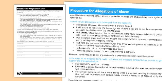 Procedure for Allegations of Abuse for Childminders - childminder