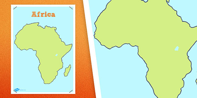 Large Blank Map of Africa - large, blank, map, africa, continent, countries