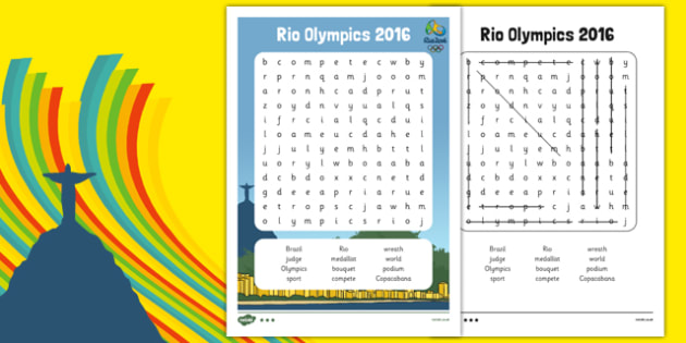 Rio Olympics 2016 Word Search - rio olympics, 2016 olympics, rio 2016, wordsearch, word search