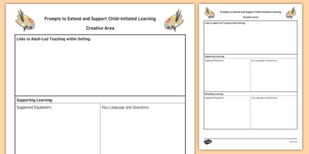 Creative Area Adult Support Prompt Sheet Template - EYFS Continuous Provision Plans, enhancements