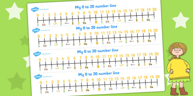 Number Lines 0-20 to Support Teaching on Titch - count, counting, counting aid, numeracy