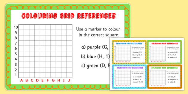 Colouring Grid References Maths Challenge Cards - colour, coordinates