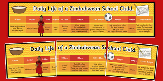A Day in the Life of a Zimbawean School Child Timeline - display, resource, schedule, daily, comparison, illustrated, africa, topic