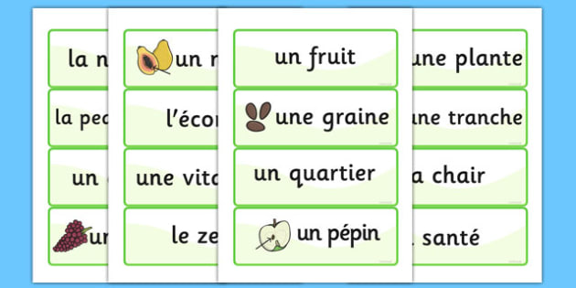 Fruit and Vegetable Nouns Word Cards French - french, fruit, vegetable, nouns, word cards, word, cards