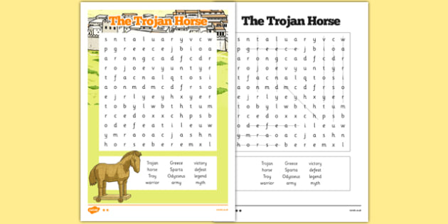 The Trojan Horse Word Search - the trojan horse, troy, ancient greece, word search