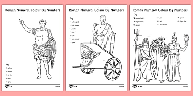 Differentiated Roman Numeral Colour by Numbers - roman numeral, colour by number, colour, colouring, romans