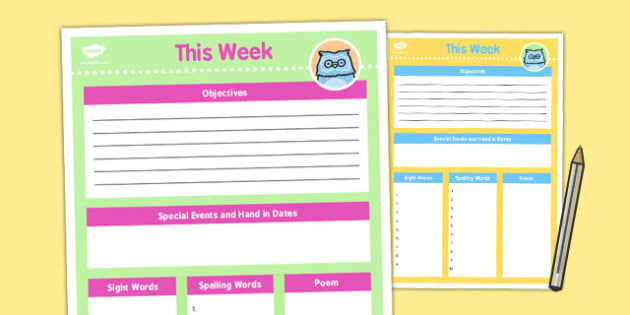 Home Education Week At a Glance Template - parents, templates