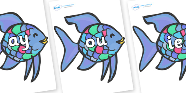 Phase 5 Phonemes on Rainbow Fish to Support Teaching on The Rainbow Fish - Phonemes, phoneme, Phase 5, Phase five, Foundation, Literacy, Letters and Sounds, DfES, display