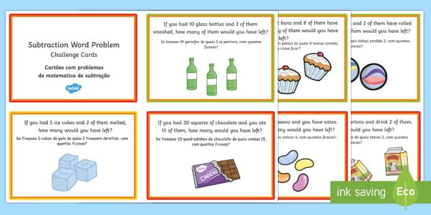 KS1 Subtraction Word Problem Challenge Cards English/Portuguese - KS1 Subtraction Word Problem Challenge Cards - challenge cards, challange, substraction, suntraction