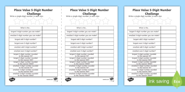 Place Value 5-Digit Number Challenge Activity Sheet-Scottish, worksheet