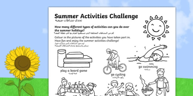 Summer Holiday Challenges Activity Sheet Arabic Translation - summer, holidays, summer holidays, activities, games, ideas, challenges, homework, homework, home learning, worksheet