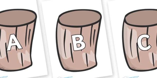 A-Z Alphabet on Drums - A-Z, A4, display, Alphabet frieze, Display letters, Letter posters, A-Z letters, Alphabet flashcards