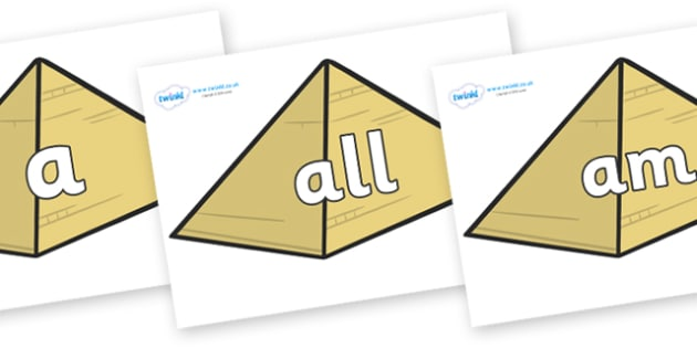 Foundation Stage 2 Keywords on Pyramids - FS2, CLL, keywords, Communication language and literacy,  Display, Key words, high frequency words, foundation stage literacy, DfES Letters and Sounds, Letters and Sounds, spelling