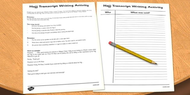 Hajj Writing Activity - hajj, islam, festival, activity, writing