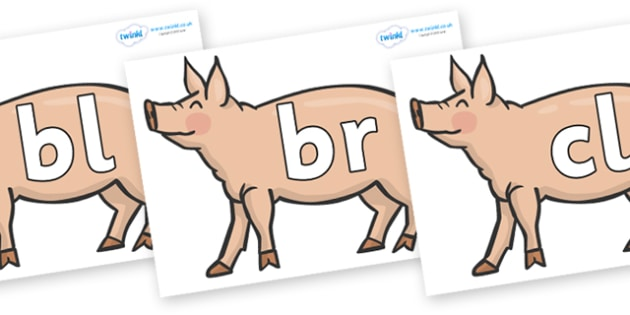Initial Letter Blends on Pigs to Support Teaching on Pig in the Pond - Initial Letters, initial letter, letter blend, letter blends, consonant, consonants, digraph, trigraph, literacy, alphabet, letters, foundation stage literacy