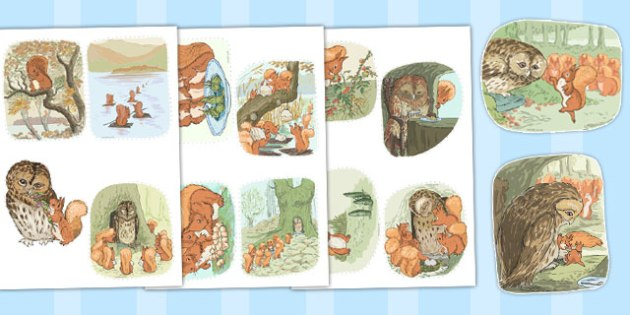 The Tale of Squirrel Nutkin Story Cut Outs - squirrel nutkin, story