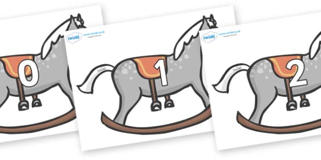 Numbers 0-50 on Rocking Horses - 0-50, foundation stage numeracy, Number recognition, Number flashcards, counting, number frieze, Display numbers, number posters
