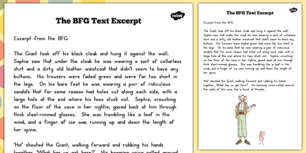 Text Excerpt to Support Teaching on The BFG - australia, bfg, text, excerpt, writing, story