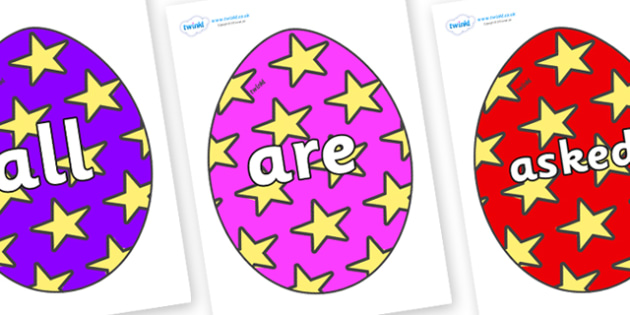 Tricky Words on Easter Eggs (Stars) - Tricky words, DfES Letters and Sounds, Letters and sounds, display, words