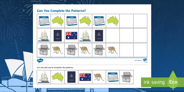 Australia Day Complete the Pattern Activity Sheets - celebration