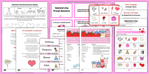 Elderly Care Valentine's Day Resource Pack - Elderly, Reminiscence, Care Homes, Valentine's Day