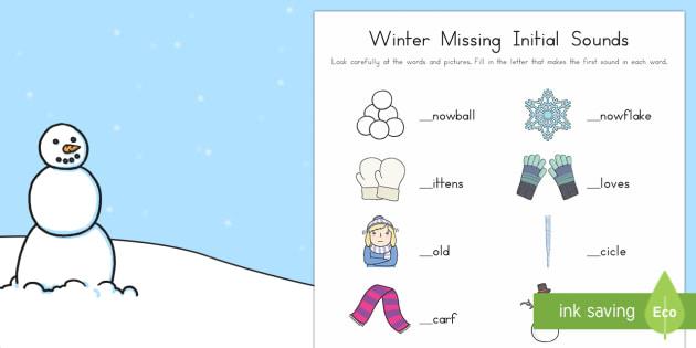 Winter Initial Sounds Activity Sheet - Winter, phonics, initial sounds, missing letter, missing sound, first letter, first sound, worksheet